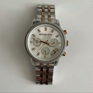 Michael Kors Watch Silver and Rose Gold